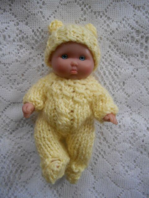 "Doll Clothes Yellow Hand Knitted Sleeper footed set for sculpted Baby 5"" Ooak 6"""