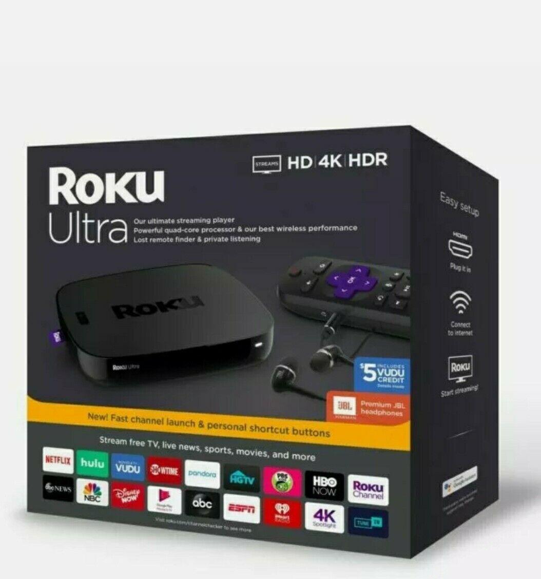 NEW Roku Ultra 4670RW 4K Streaming Media Player Device w/JBL Premium Headphones 4670rw device headphones media new player premium roku streaming ultra