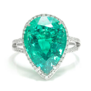 Pear Emerald Halo Ring with Diamonds 18K White Gold 7.92ctw