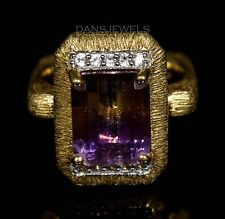 NATURAL AMETRINE and SAPPHIRE 14k Gold Over Sterling MICHELLA ALBALA Ring