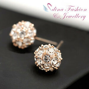 18K-Rose-Gold-Plated-Made-With-Swarovski-Crystal-Studded-Ball-Stud-Earrings