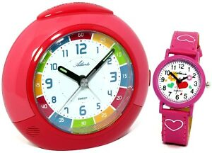 set kinderwecker armbanduhr rot rosa pink m dchen. Black Bedroom Furniture Sets. Home Design Ideas