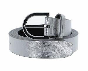 Calvin Klein Saffiano Round Belt 25MM W95 Gürtel Accessoire Silver Silber Neu