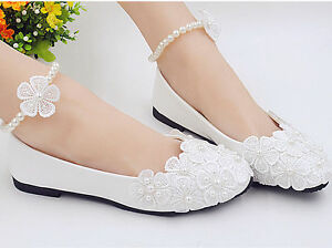 NEW-Lace-white-crystal-Wedding-shoes-Bride-flats-low-high-heel-wedge-size-5-10