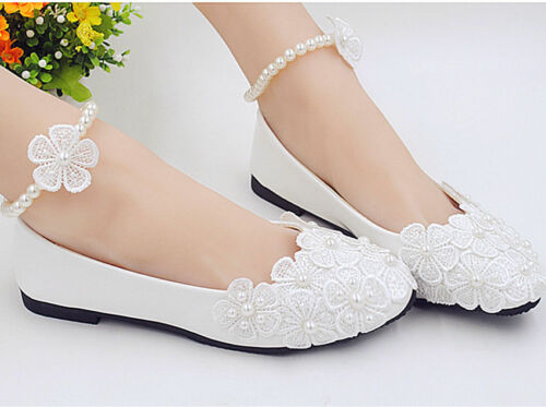 Lace white crystal Wedding shoes Bride flats low high heel wedge size 5-10