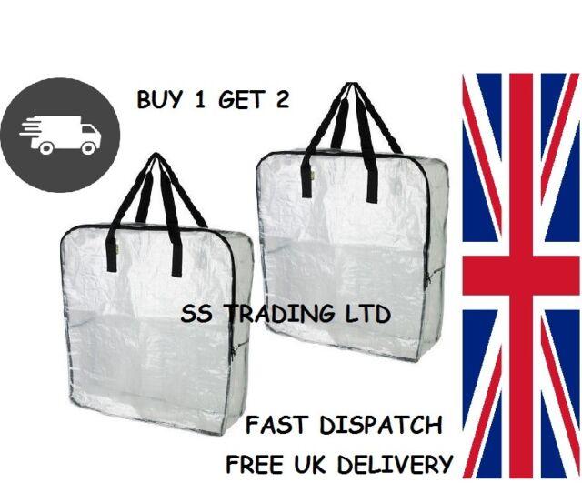 2 X IKEA DIMPA Large Clear Transparent Plastic Zipped Storage Bags