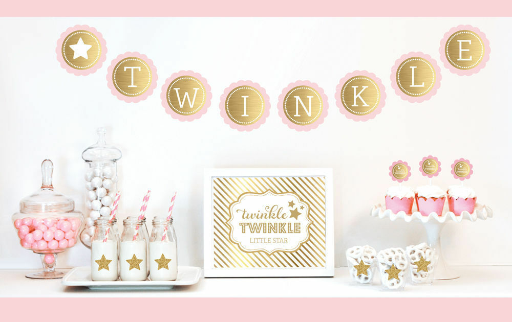 Gold And Glitter Twinkle Twinkle Twinkle Party Decorations Kit Baby Shower Birthday Decorations 0227ca