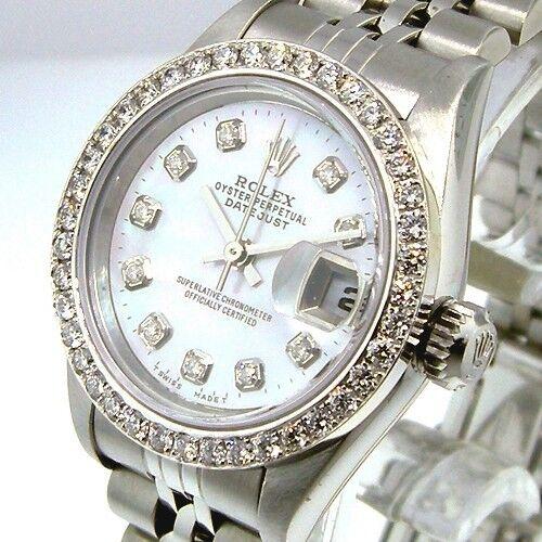 ROLEX DATEJUST STEEL JUBILEE WHITE MOTHER OF PEARL DIAMOND DIAL DIAMOND BEZEL