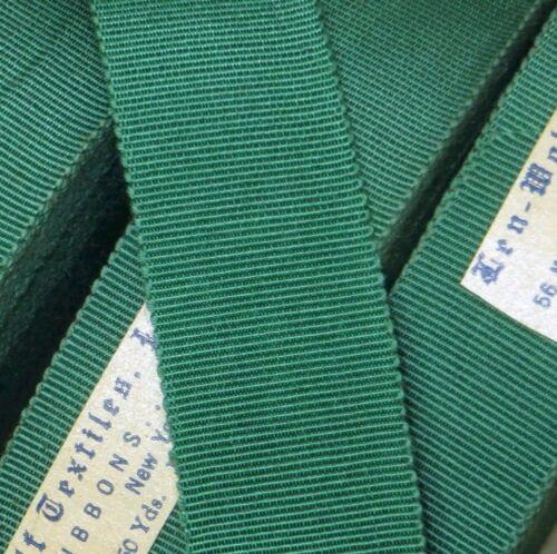 "1y 7//8/"" GREEN GROSGRAIN RIBBON NATURAL COTTON RAYON TRIM HAT FEDORA COCARDE DOLL"