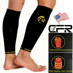 a10ac74963 Copper Infused Calf Compression Sleeve Socks Leg Shin Splint Support ...