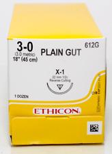 Jampj Ethicon 612g Plain Gut Absorbable Reverse Cutting Sutures X 1 3 0 18 12bx
