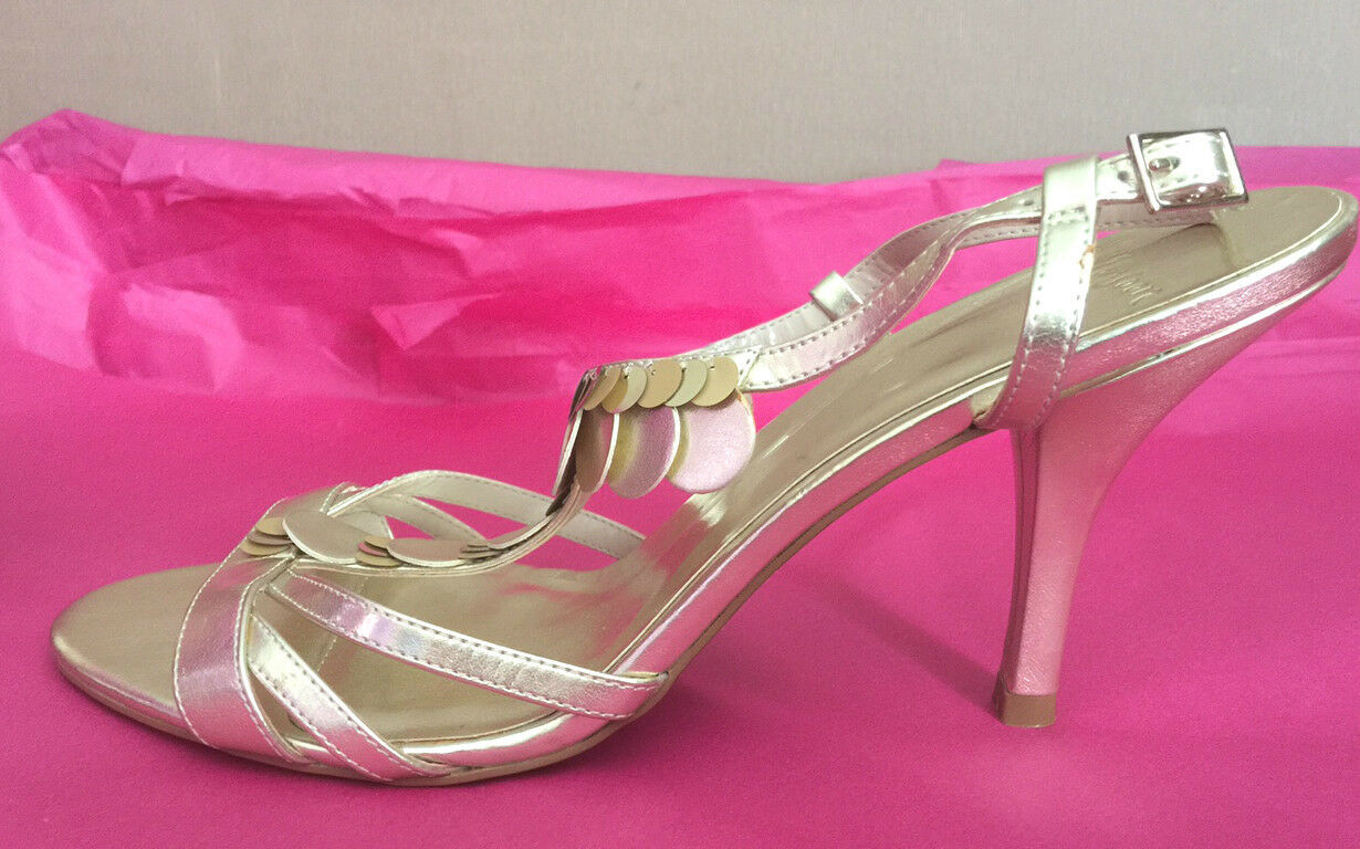 Monsoon UK8 EU42 US10 new gold strappy Angelina sandals with circular discs
