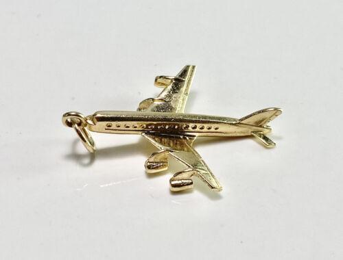 Vintage 80\u2019s Large Gold Jet Airplane PinBrooch