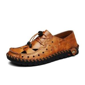 New-Mens-Hollow-Out-Close-Toe-Driving-Flats-Sports-Sandals-Beach-Slippers-Shoes