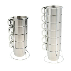 Stackable Coffee Mugs Stainless Steel Tea Water Wine Glasses Cups