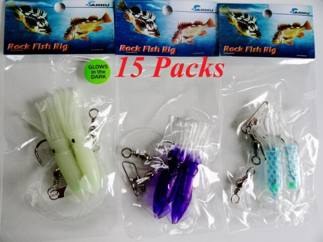 """15 Packs 3"""" Rock Cod Rigs Two Bulb Squid rigged Rockfish bait - 5 x 3 Colors"""