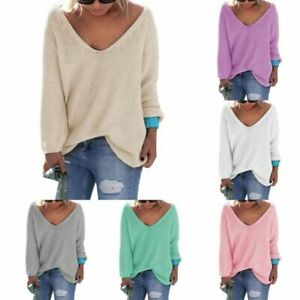 Plus-Size-Womens-V-neck-Knit-Sweater-Pullover-Ladies-Casual-Loose-Knitted-Jumper