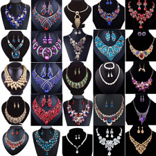 Fashion Crystal Pendant Bib Choker Chain Statement Necklace Earrings Jewelry
