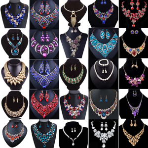 Fashion-Crystal-Pendant-Bib-Choker-Chain-Statement-Necklace-Earrings-Jewelry