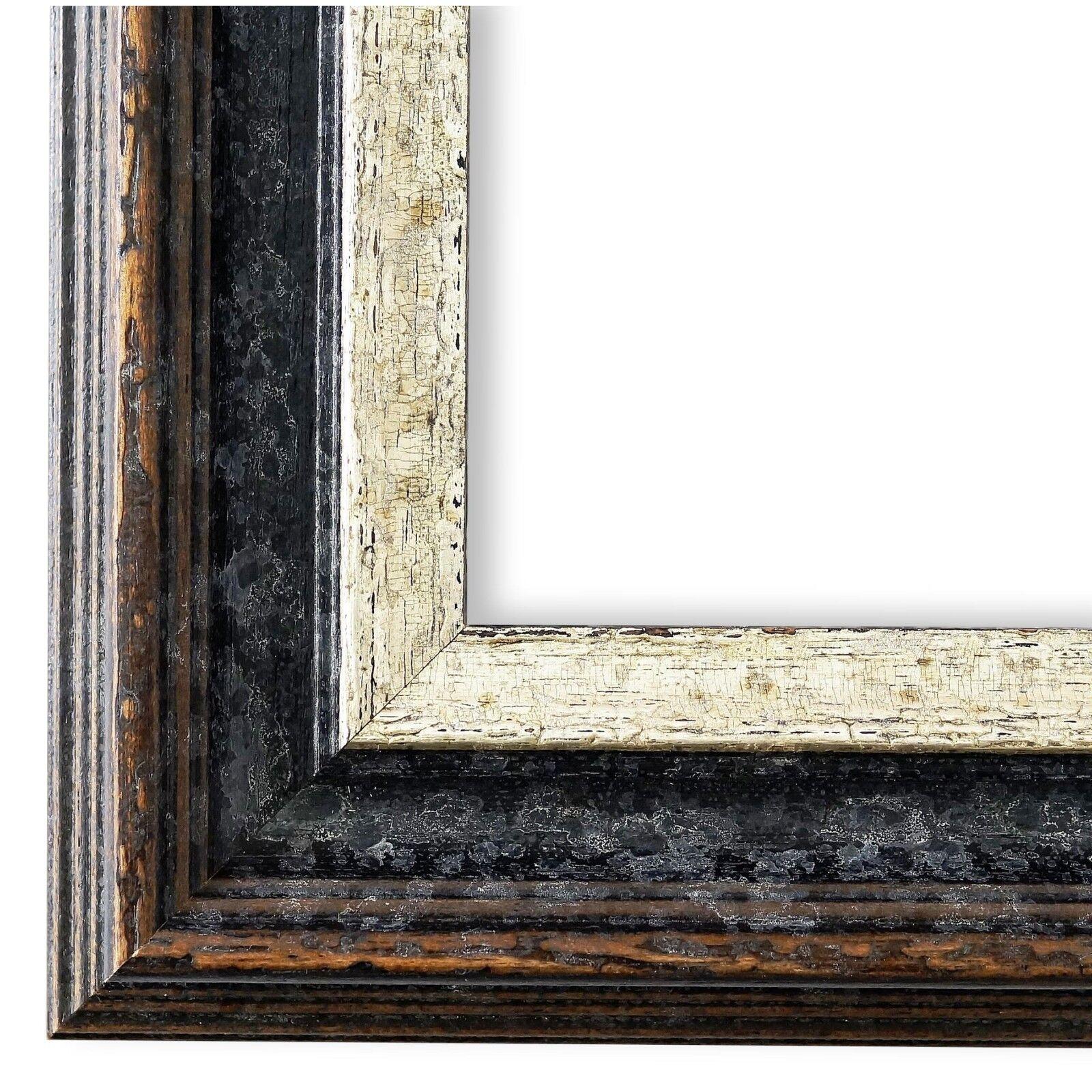 Bilderrahmen Schwarz Silber Klassisch Retro Holz Trento 5,4 - NEU alle Größen