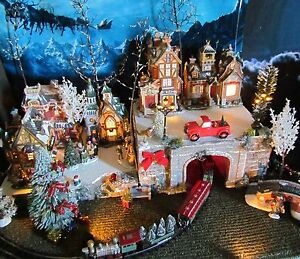 image is loading christmas lighted train tunnel village display platform dept