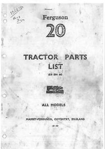 ferguson te20 tractor tea20 tec20 ted20 tef20 parts manual petrol rh ebay com To 20 Ferguson Tractor Parts ferguson te20 parts manual