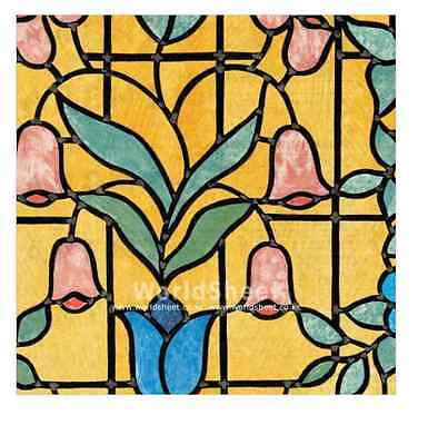 "NIZZA  Stained Glass Decorative Window Film, Self-Adhesive Film 18""x 39"" Alkor"
