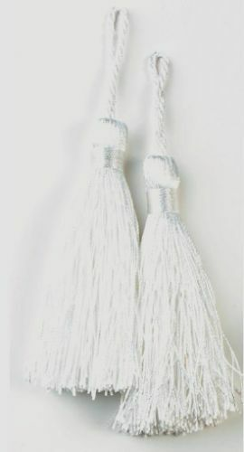 """SEWING CRAFTS HOME DECOR 3.75/"""" E5524 2 WHITE TASSELS SET OF TWO"""