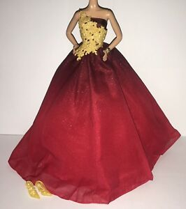 Barbie Model Muse Doll Holiday 2016 Ball Gown Outfit Red Gold