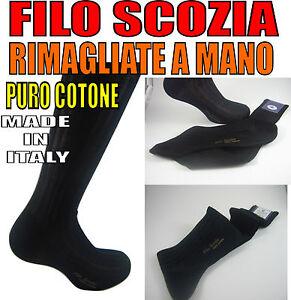 6-PAIA-CALZE-CALZINI-LUNGHI-UOMO-FILO-DI-SCOZIA-RIMAGLIATE-A-MANO-BLU-NERO