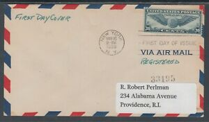 US-Sc-C24-Registered-FDC-1939-30c-Winged-Globe-New-York-First-Day-Cancel