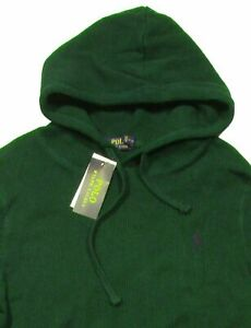 Polo-Ralph-Lauren-Men-039-s-SZ-M-Green-Waffle-Knit-Thermal-Pullover-Hoodie