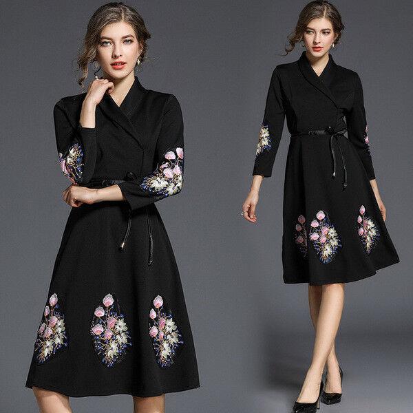 Kleid Kurz Kleid Schaukel Frau Elegant Schwarz Blaumenmuster Mode Hülle 4772