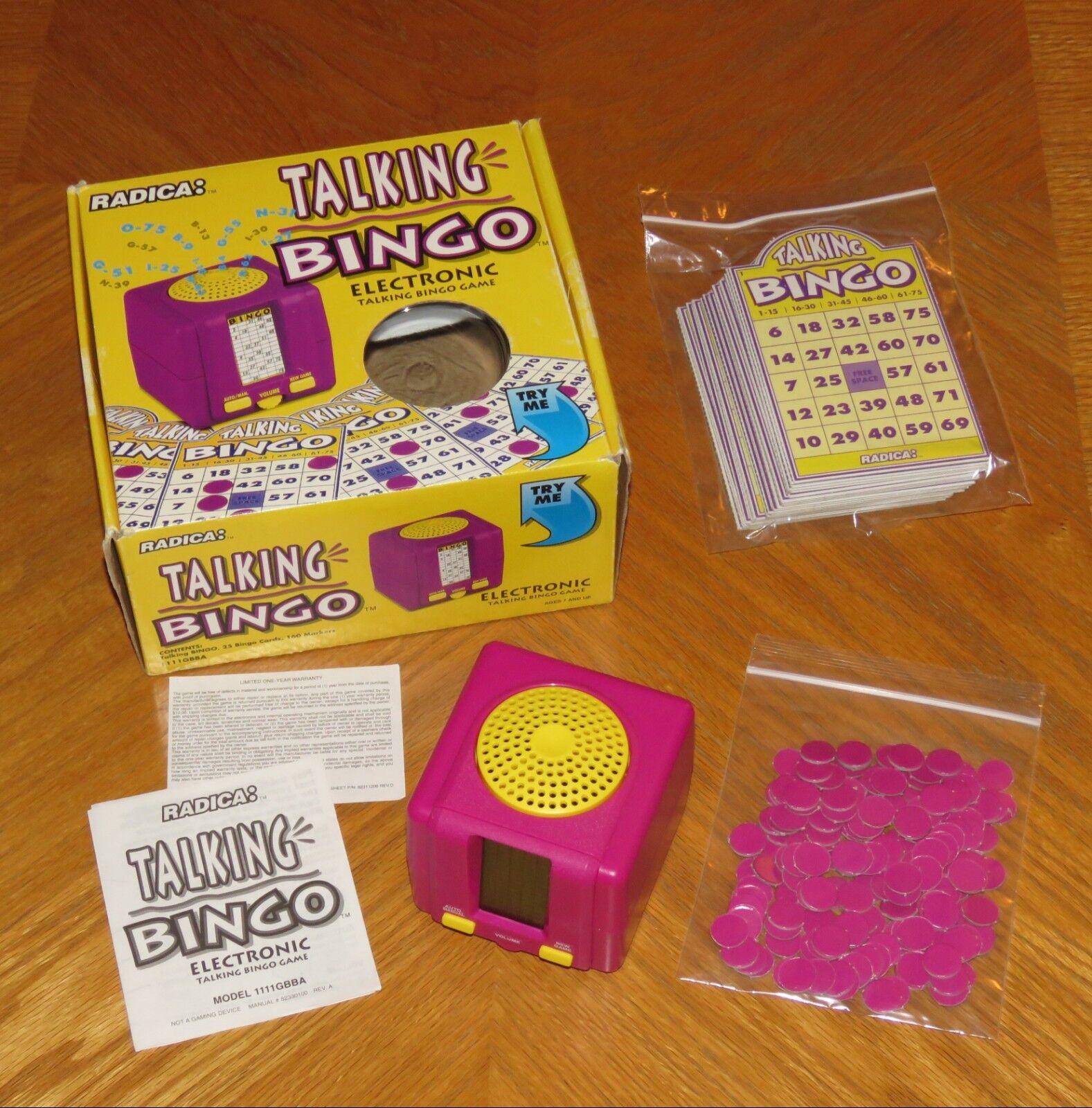 1995 Radica TALking BINGO Electronic spel - Original låda - Tested & arbetssätt