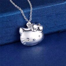 925 Silver Hello Kitty Photo Locket Pendant Chain Necklace *UK*