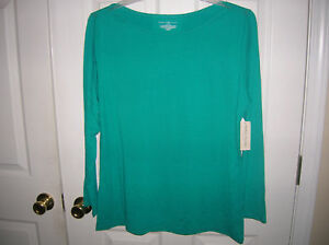 new-WOMENS-shirt-size-2x-teal-green-long-sleeve-plus-T30