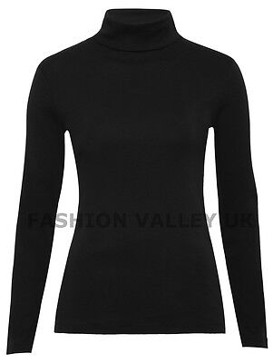 WOMENS PLAIN LONG SLEEVE TURTLE POLO NECK TOP LADIES ROLL NECK TOP JUMPER 8-26