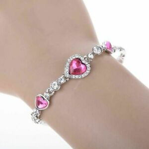 Silber-Herz-Armband-Geschenk-Damen-Schmuck-in-Pink