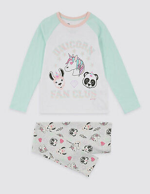 Girls Kids Emoji Unicorn Emoji Pink Long Sleeve Long Bottoms PJs Pyjamas New