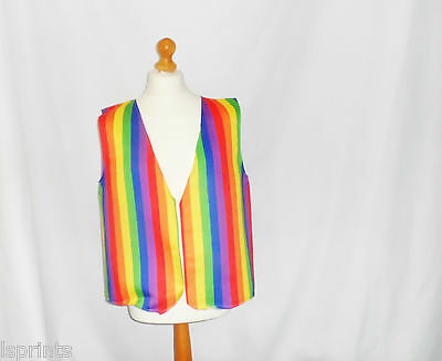 GAY PRIDE RAINBOW DESIGN WACKY WAISTCOAT FUN & FANCY FOR ALL OCCASIONS & PARTIES