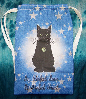 Black Cat Tarot card bag, ideal for most fairy, angel & Wicca tarot cards