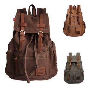 Men/Women's Vintage Canvas Leather backpack Rucksack laptop ...