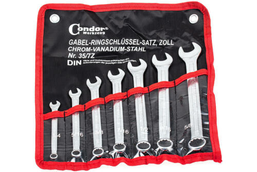 Maul Ringschlüssel Set 7-tg Ring Maulschlüssel Zoll Werkzeug Satz Gabelschlüssel