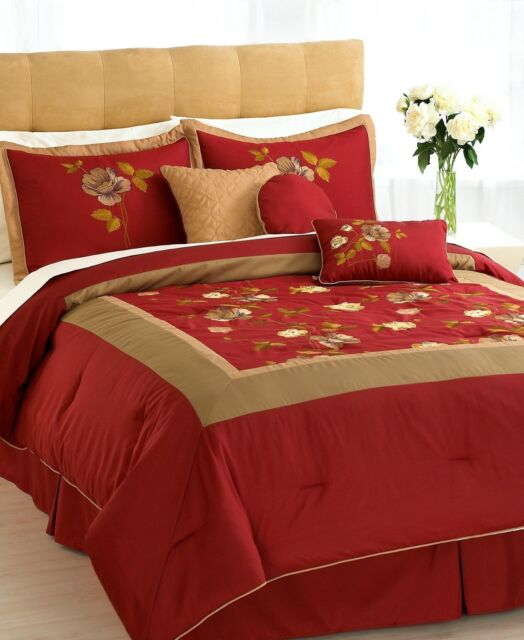 Hallmart Collectibles Selina Bedding 7, Red Queen Bed Set