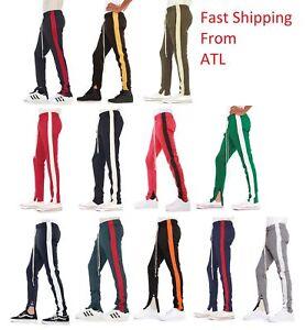 c9e80145f39de1 EPTM. Men's Side Stripe Ankle Zip Long Drawstring Techno Track Pants ...