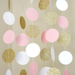 11Ft-Pink-White-Gold-Glitter-Circle-Dots-Paper-Garland-Bunting-Banner-Decoration