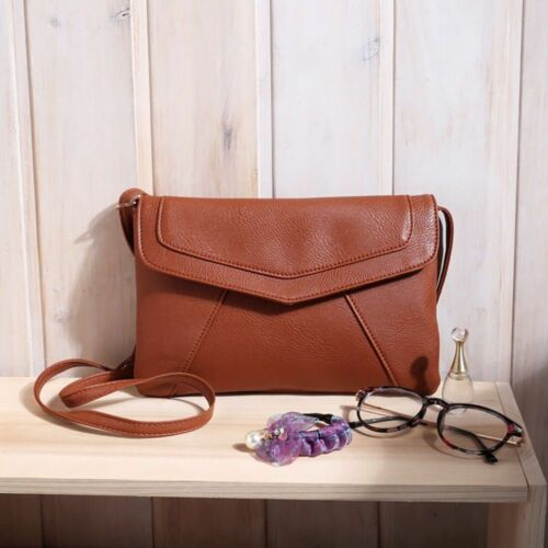 Women Clutch Cross Body Bag Ladies Vintage Leather Shoulder Messenger Slim Purse