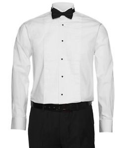 Berlioni-Italy-Men-039-s-Tuxedo-Wingtip-Collar-White-Dress-Shirt-Includes-Bow-tie