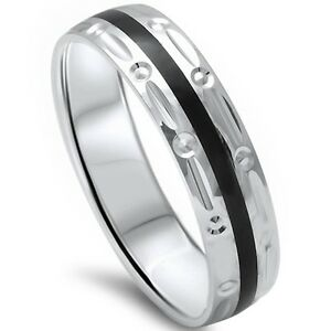 Men 5mm Black Onyx Comfort Fit 925 Sterling Silver Wedding Band Ring Sizes 8 12