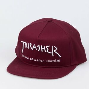 Thrasher-Cap-New-Religion-Maroon-Snapback-Skateboard-Magazine-Hat